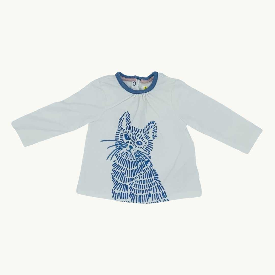 Gently Worn Boden white cat top top 3-6 months