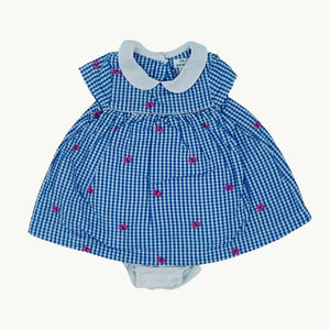 Gently Worn John Lewis All-in-one gingham dress size 3-6 months