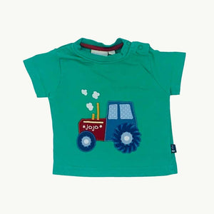 Gently Worn Jojo Maman Bebe green tractor t-shirt size 3-6 months