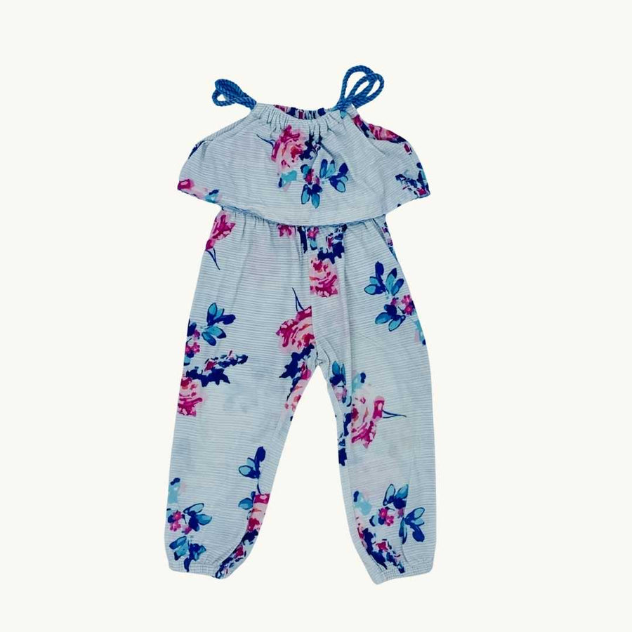 Gently Worn Joules blue flower jumpsuit size 18-24 months