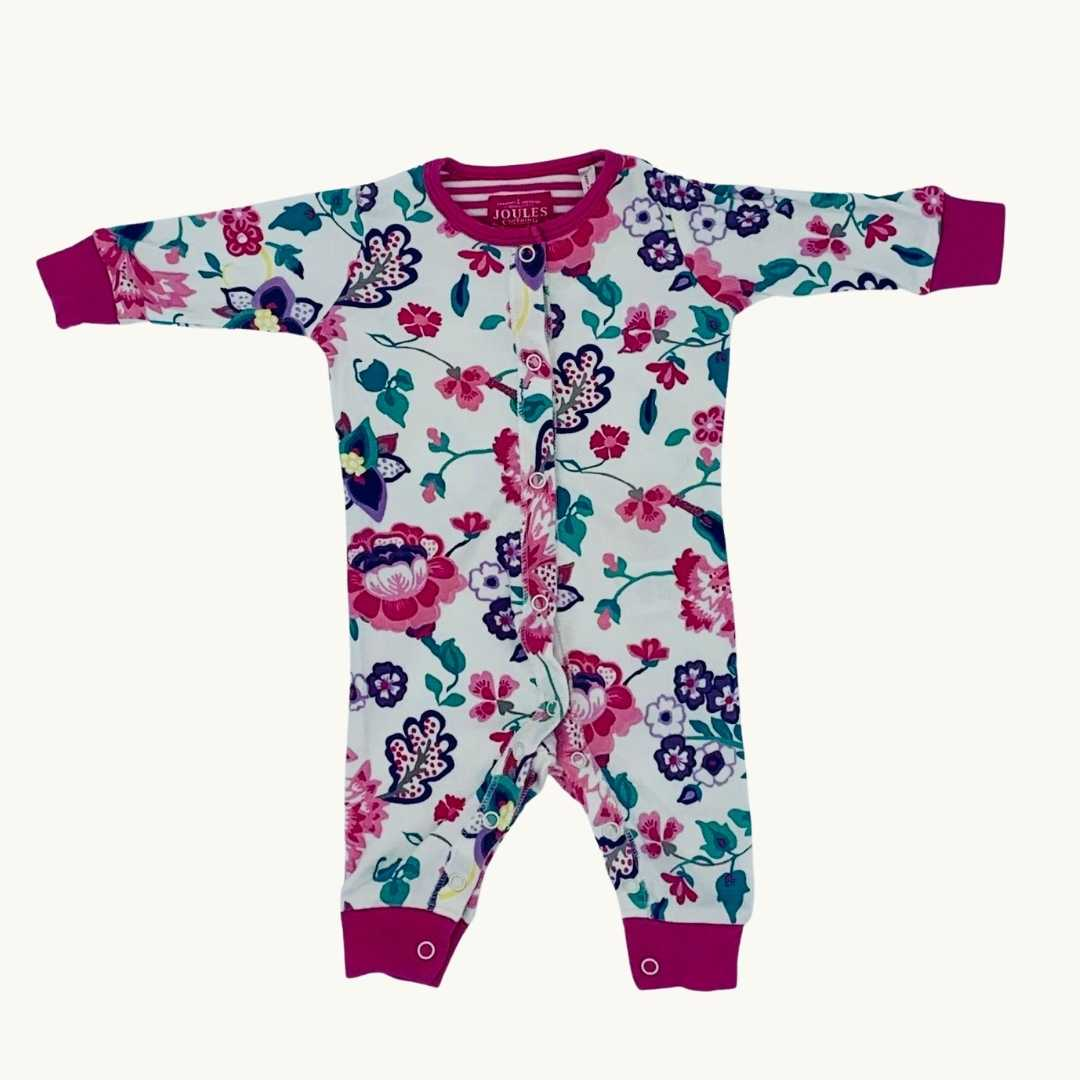 Gently Worn Joules white flower romper size 0-3 months