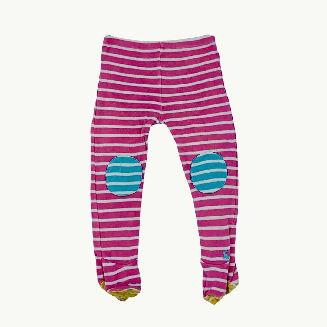 Gently Worn Joules white striped footed leggings size 18-24 months