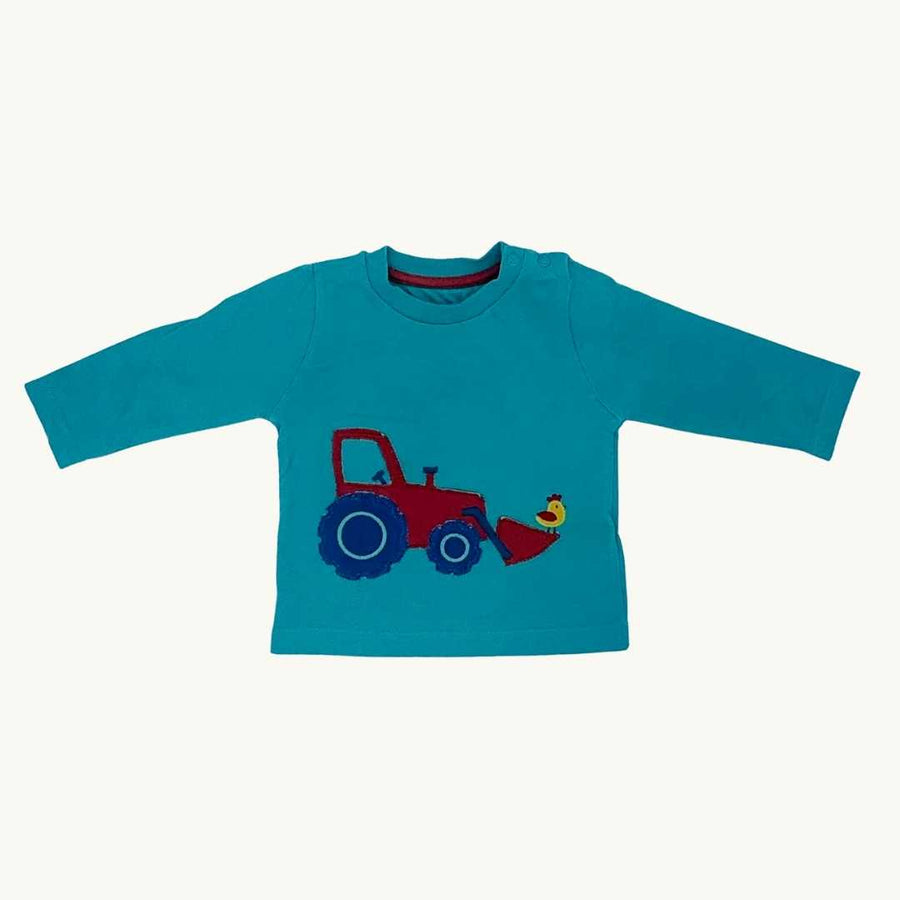 Gently Worn Kite green tractor top size 3-6 months