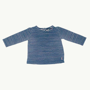 Gently Worn Joules pink stripe top size 6-9 months