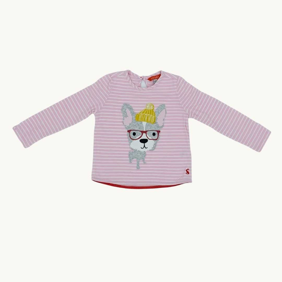 Gently Worn Joules dog applique top size 3-4 years