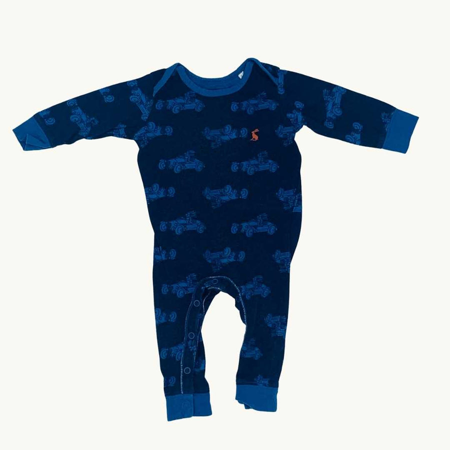 Gently Worn Joules racing car romper size 3-6 months