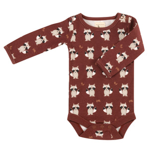 Long Sleeve Bodysuit with all over Raccoon print