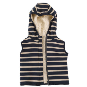 Reversible Gilet with Ink Blue breton stripe