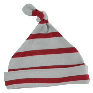 Knotted hat in Blue Surf & Red breton stripe