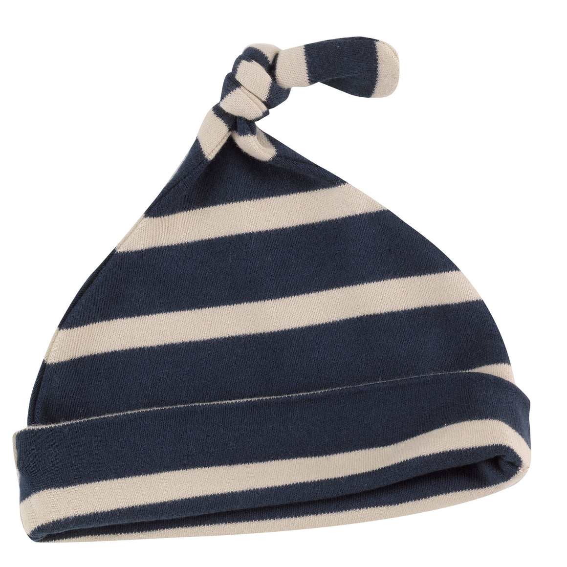 Knotted hat in Ink Blue breton stripe