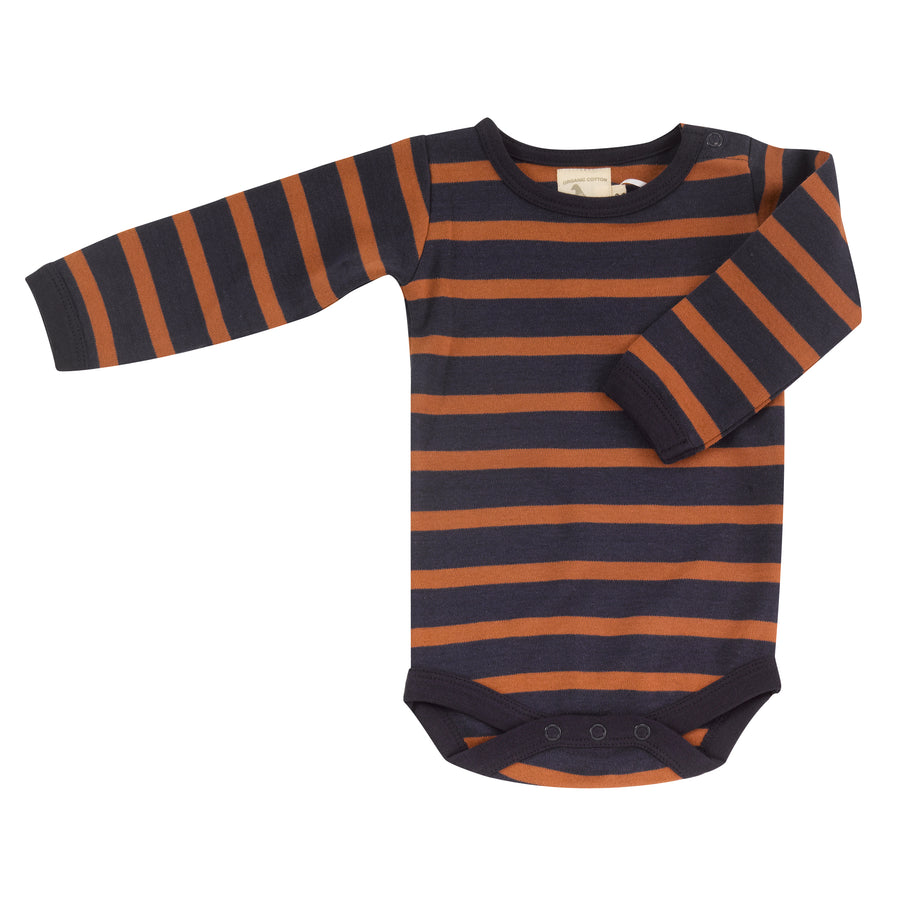 Bodysuit in navy & rust breton stripe