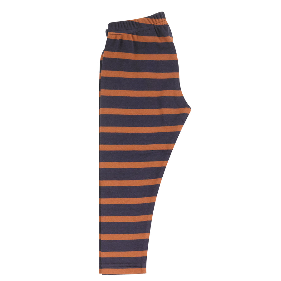 Leggings in navy & rust breton stripe