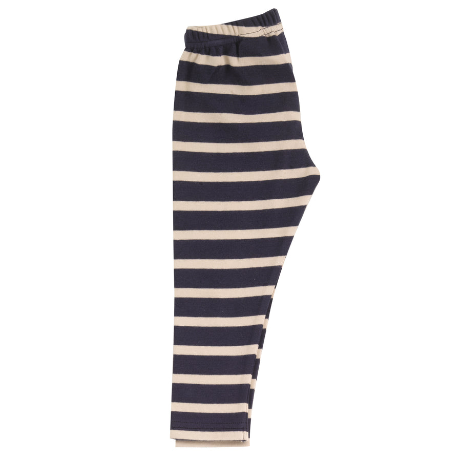 Leggings in navy & stone breton stripe
