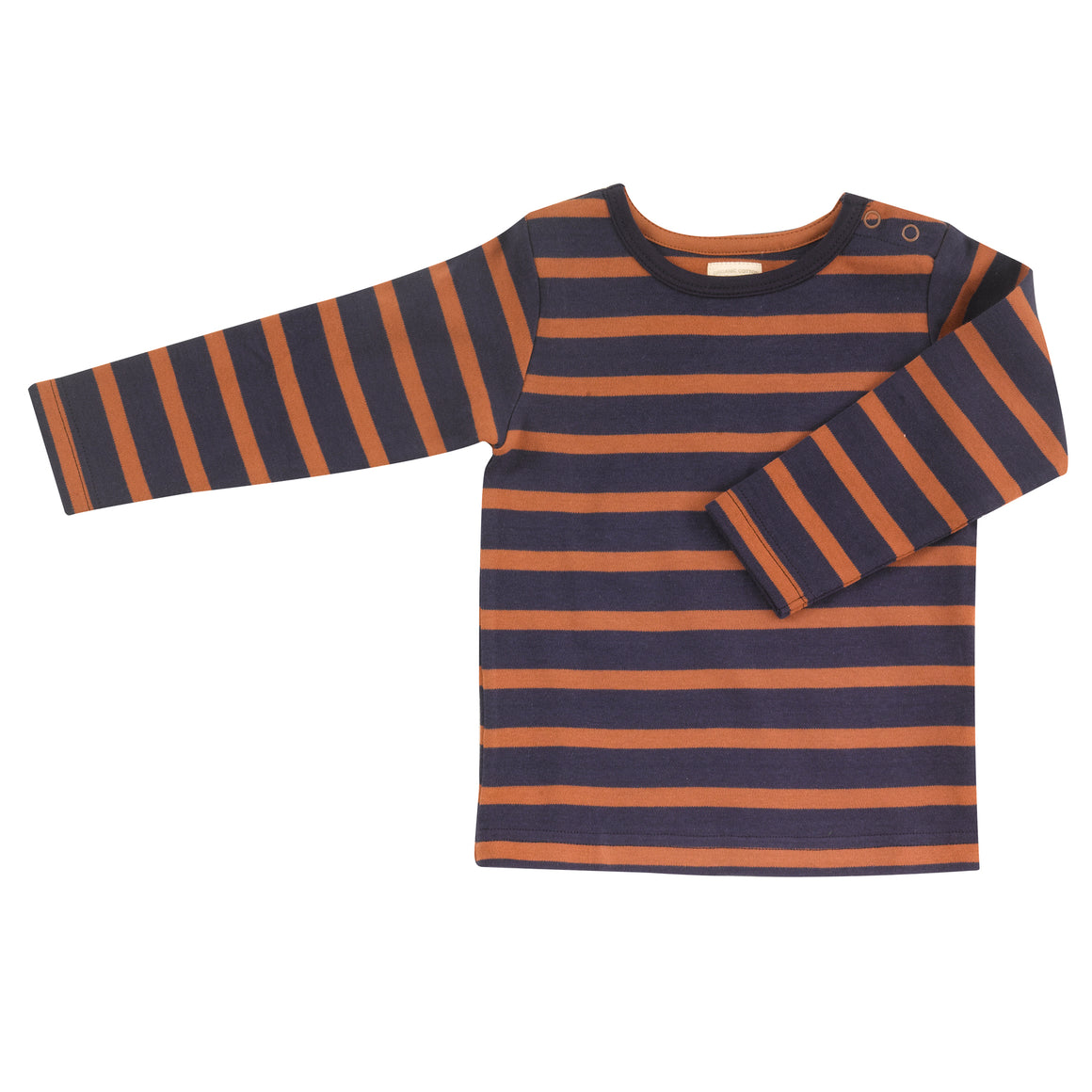 Top in navy & rust breton stripe