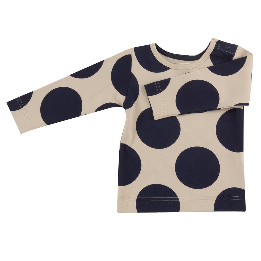 Long sleeve t-shirt with Ink Blue giant spots