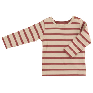 Long sleeve t-shirt in Spice breton stripe