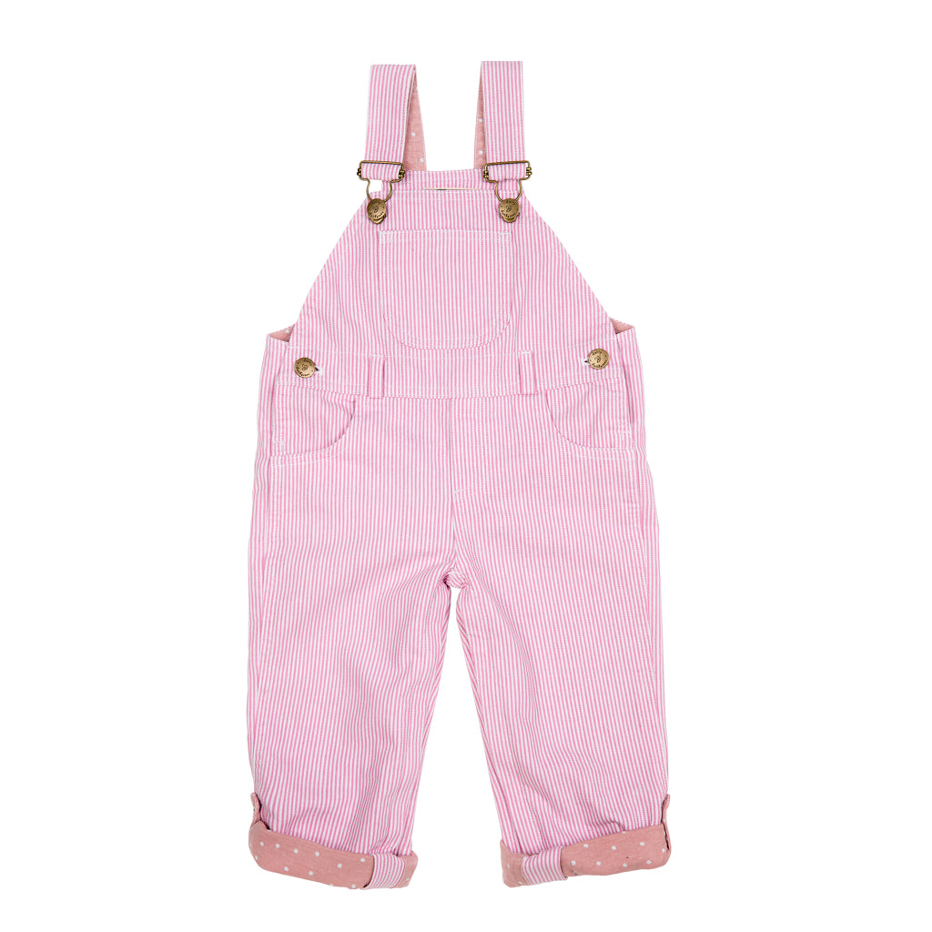 Classic Dungarees in Pink Stripe