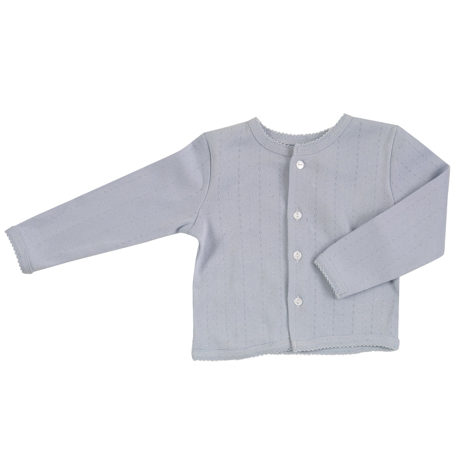 Pointelle Cardigan in Pale Blue