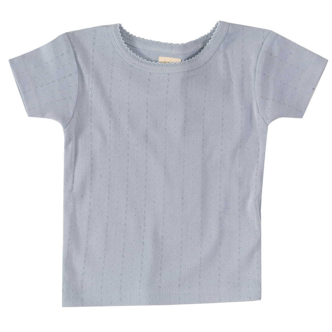 Pointelle T-shirt in Pale Blue