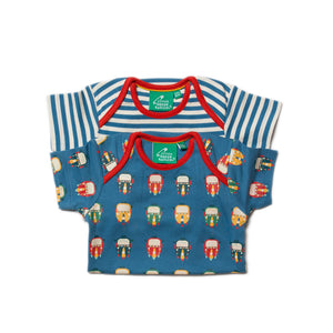 Bodysuit 2 Pack with Tuk Tuk print & Blue stripe