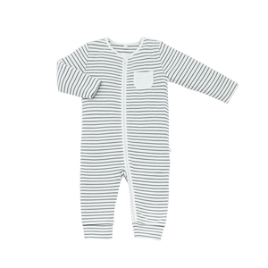 Zip-Up Sleepsuit in Grey Stripe