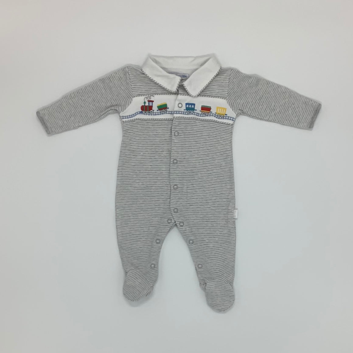 Hardly Worn Jojo Maman Bebe Train Sleepsuit Size 0-3 months