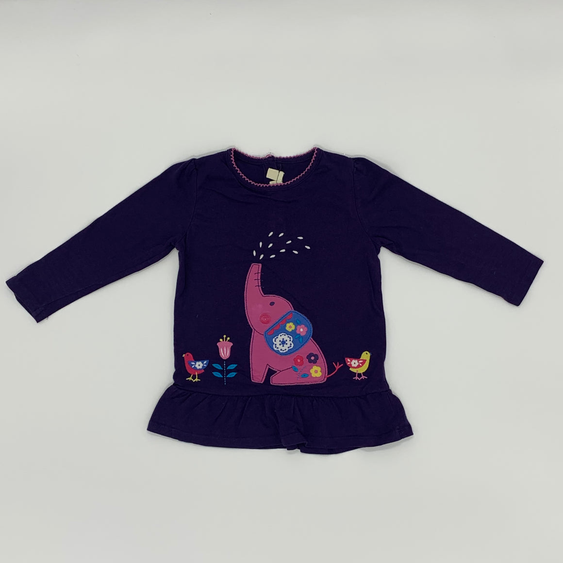 Gently Worn Jojo Maman Babe elephant applique top size 3-4 years