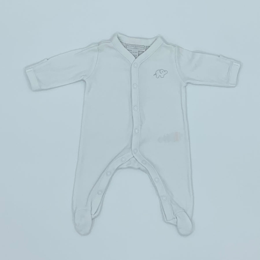Hardly Worn The White Company elephant sleepsuit size Tiny Baby