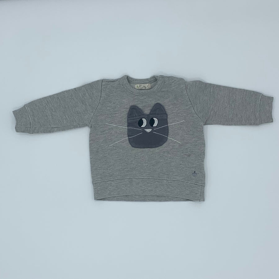 Gently Worn The Bonnie Mob grey cat sweater size 6-12 months
