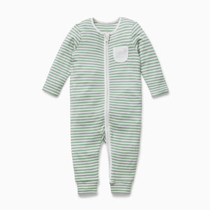 Zip-Up Sleepsuit in Sage Stripe