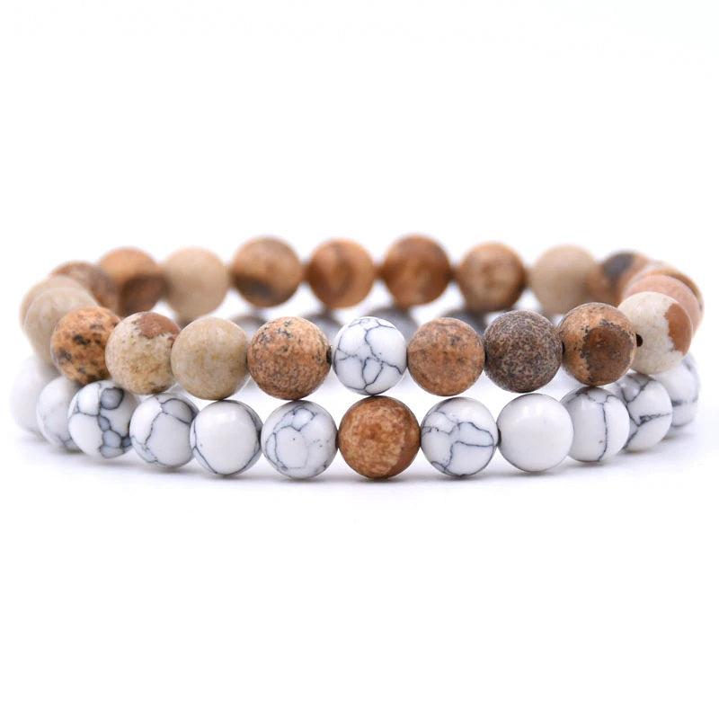 Picture Jasper and Howlite Double Stack Gemstone Healing Bracelets