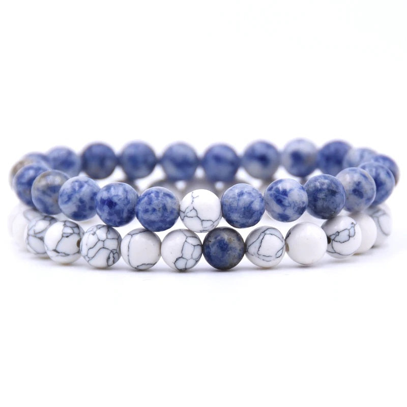 Sodalite and Howlite Double Stack Gemstone Healing Bracelets
