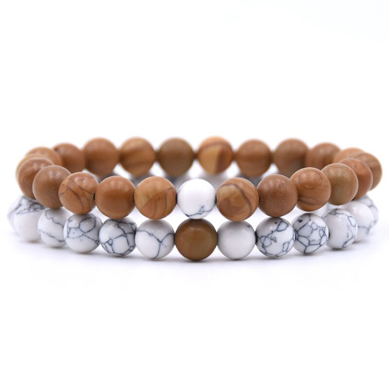Wood Jasper and Howlite Double Stack Gemstone Healing Bracelets