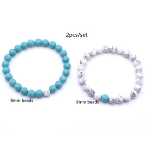 Cats Eye and Howlite Double Stack Gemstone Healing Bracelets