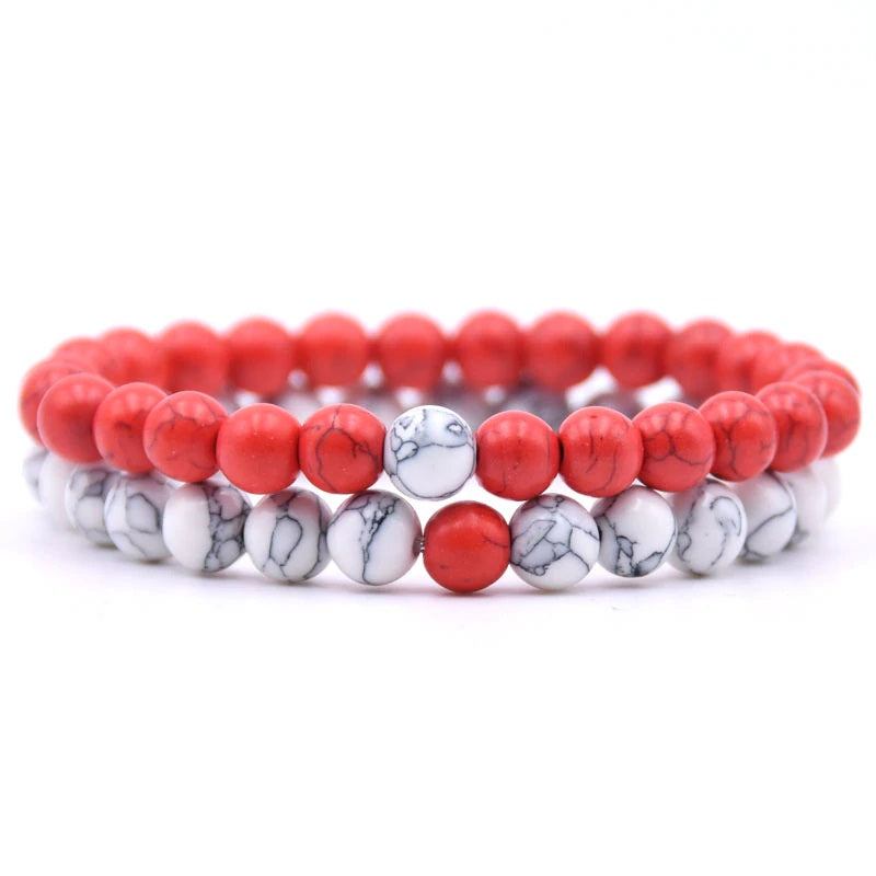 Red and White Howlite Double Stack Gemstone Healing Bracelets