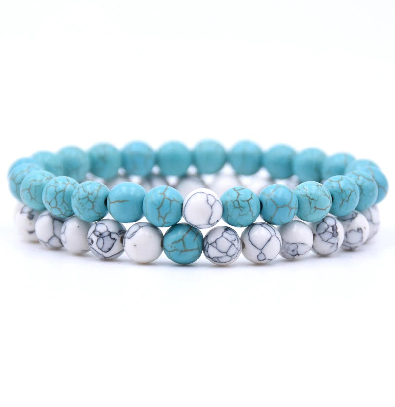Turquoise and Howlite Double Stack Gemstone Healing Bracelets
