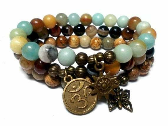 Healing Positive Energy Triple Stack Gemstone Healing Bracelets