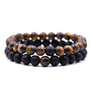 Black Onyx and Cats Eye Double Stack Gemstone Healing Bracelets