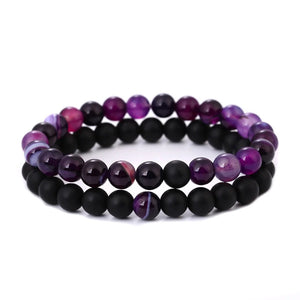 Black Onyx and Purple Agate Double Stack Gemstone Healing Bracelets
