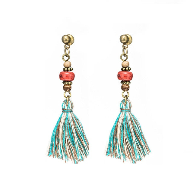 Boho Tassel Antique Bronze Earrings