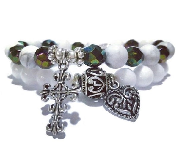 Say a Prayer Tridacna Double Stack Gemstone Healing Bracelets