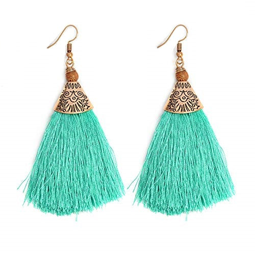Boho Fringe Tassel Ocean Aqua Wood Earrings