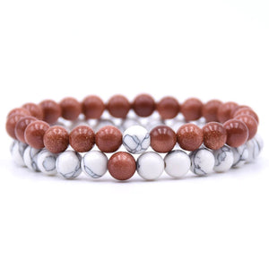 Sandstone and Howlite Double Stack Gemstone Healing Bracelets
