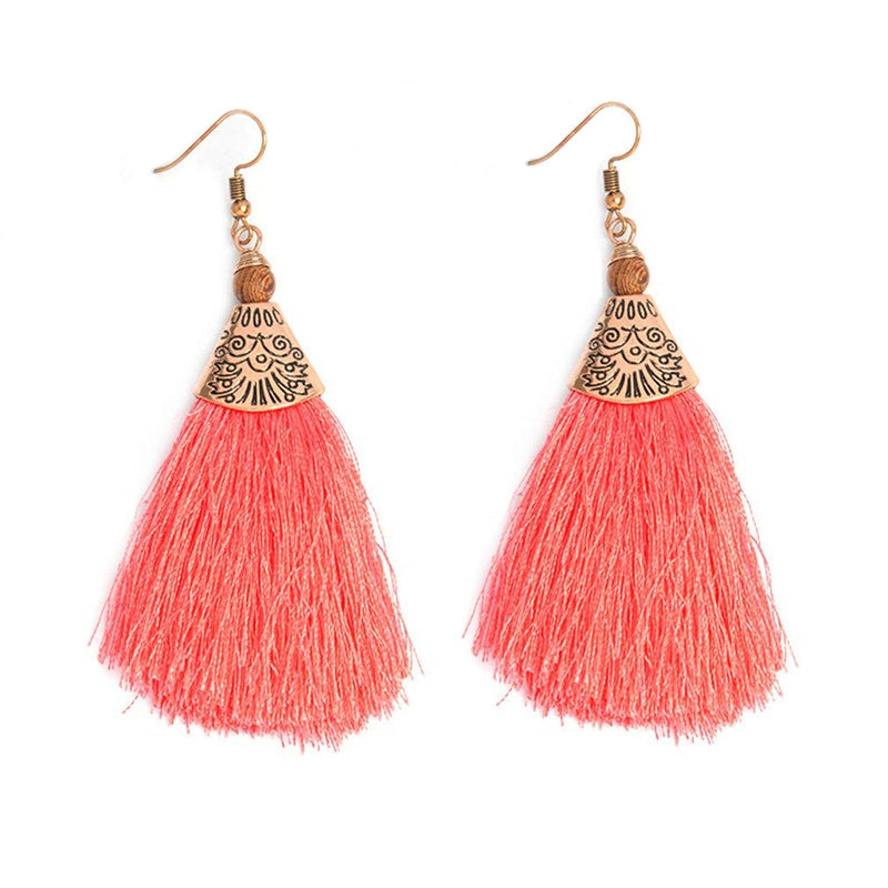 Boho Fringe Tassel Grapefruit Wood Earrings