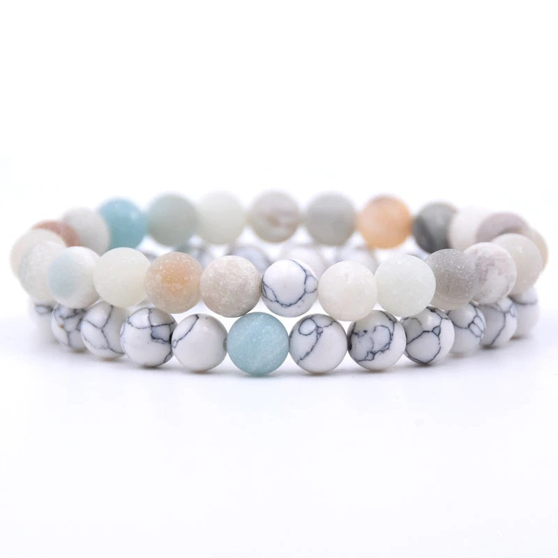 Amazonite and Howlite Double Stack Gemstone Healing Bracelets