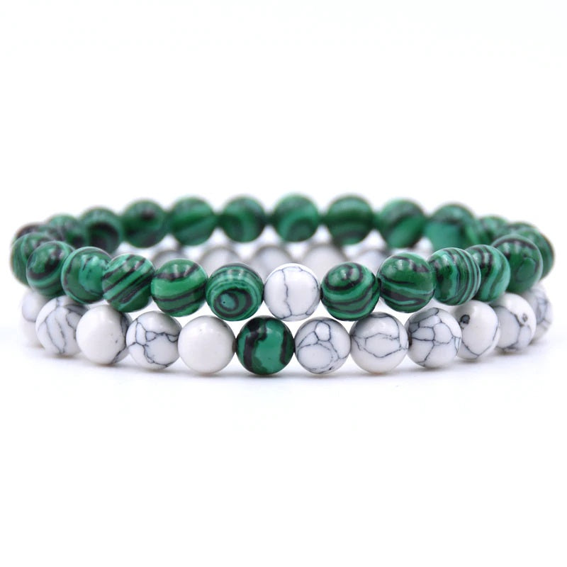 Malachite and Howlite Double Stack Gemstone Healing Bracelets