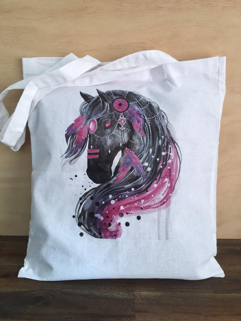 Cotton Carry Bag BLACK BOHO HORSE Shopping Shoulder Bag Eco Friendly
