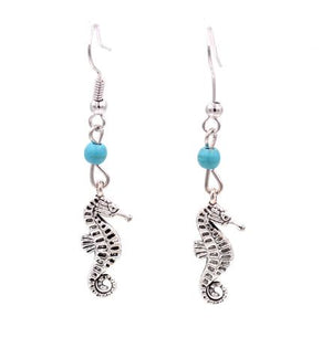 Silver Seahorse Turquoise Drop Earrings