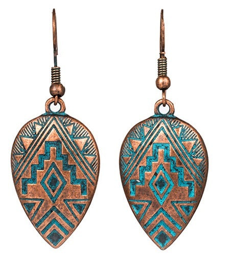 Bohemian Drop Copper Boho Vintage Aztec Earrings