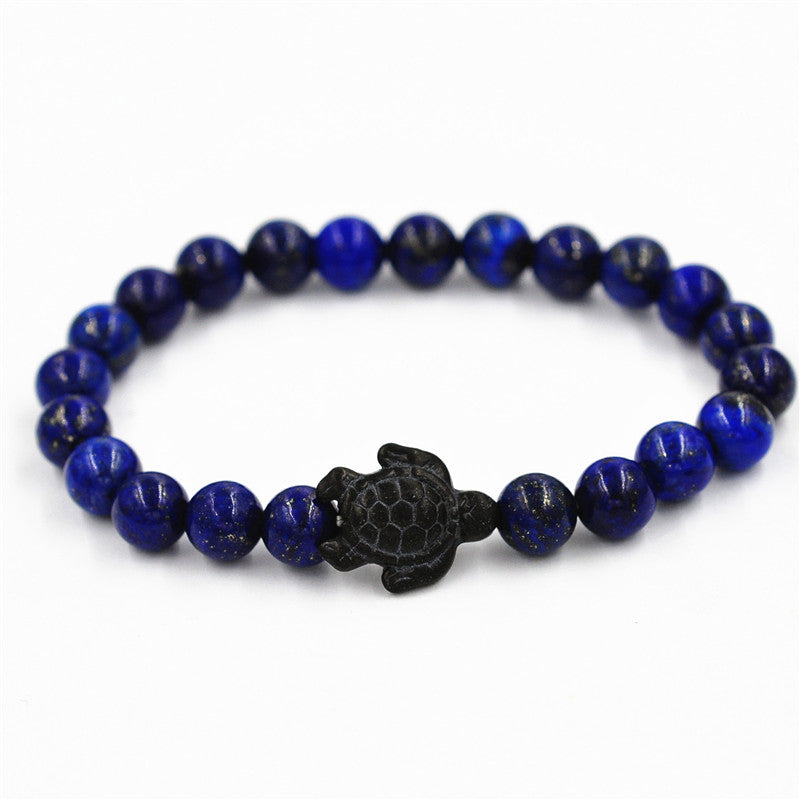 Onyx Turtle Charm Gemstone Beaded Lapis Bracelet